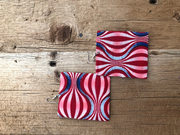 Red, White and Blue Square Cloth African Earrings