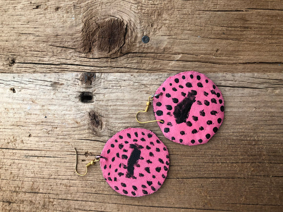 Pink and Black Circle Cloth African Earrings