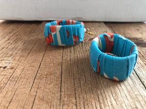 Blue, Orange and White Circle Cloth African Earrings
