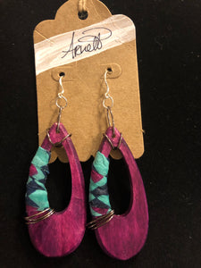 Purple Oblong Earrings with Turquoise Print