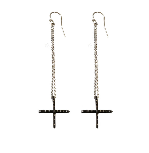3D Silver Cross Earrings