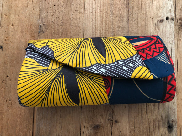 Yellow Blue and Red African Purse