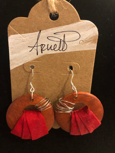 Burnt Orange and Red Circle Earrings
