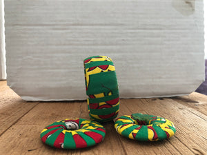 Red, Yellow and GreenCircle Cloth African Earrings and Bracelet