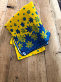 Yellow and Blue Leave African Head Wrap