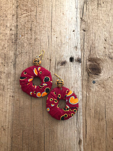 Red, Orange, Black and Yellow Circle Cloth African Earrings