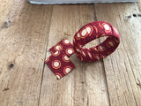 Red and White Circle Cloth African Earrings and Bracelet