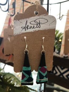 Blue Diamond Print Earrings - Triangles