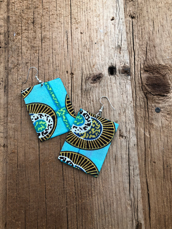 Blue, Yellow and Brown Square Cloth African Earrings