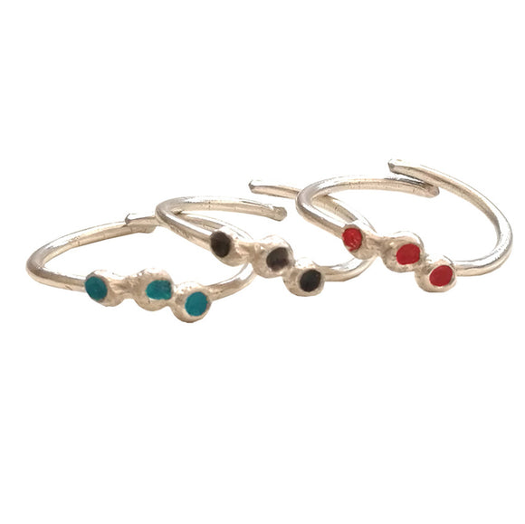 Stackable Silver Rings with Enamel