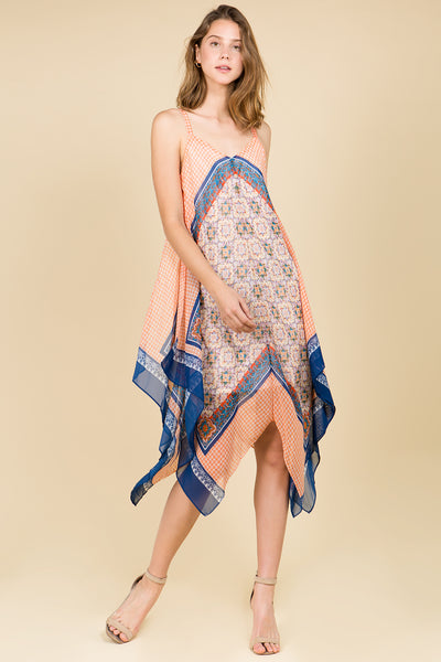 ETHNIC PRINT ASYMMETRIC HANKY HEM TANK DRESS