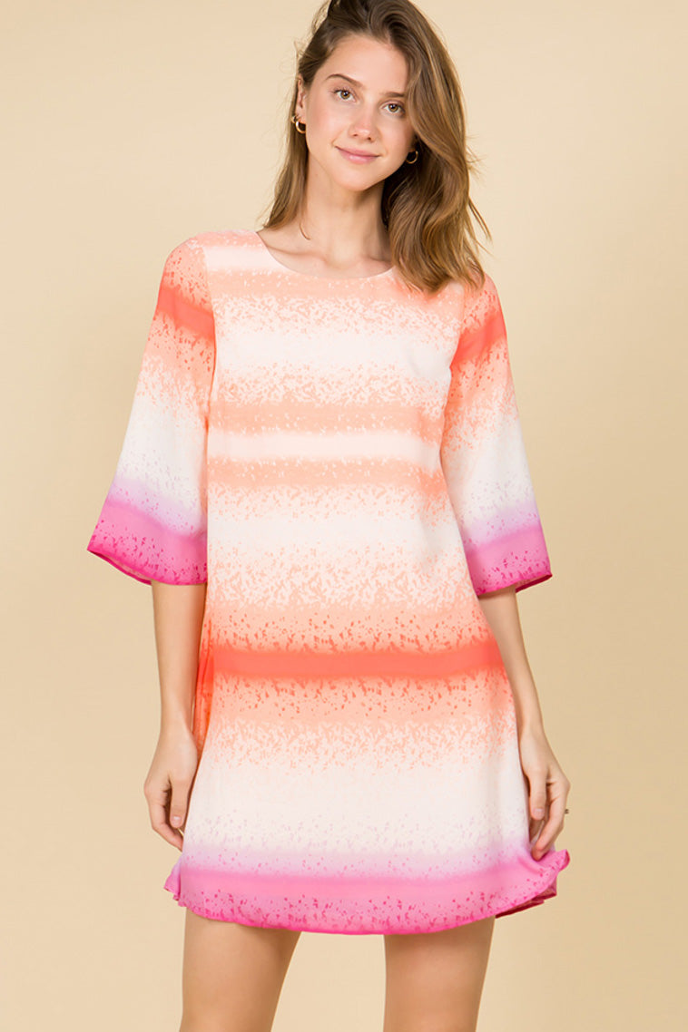 HALF SLEEVE TIE-DYE CORAL PINK SHIFT DRESS