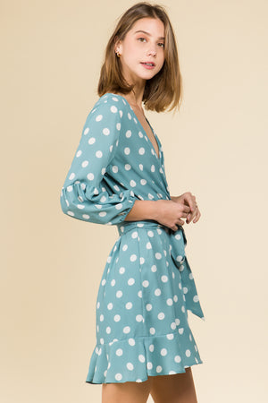 V-NECK LONG SLEEVE WRAP DRESS IN SAGE POLKA DOT