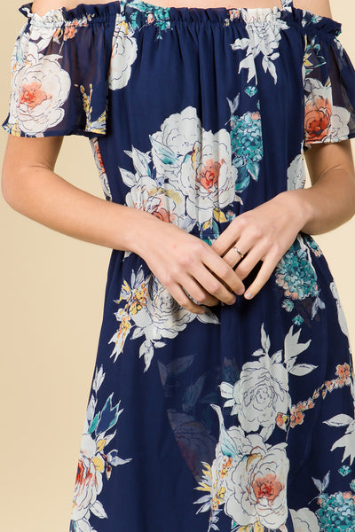 OFF SHOULDER HIGH-LOW WRAP DRESS IN NAVY FLORAL