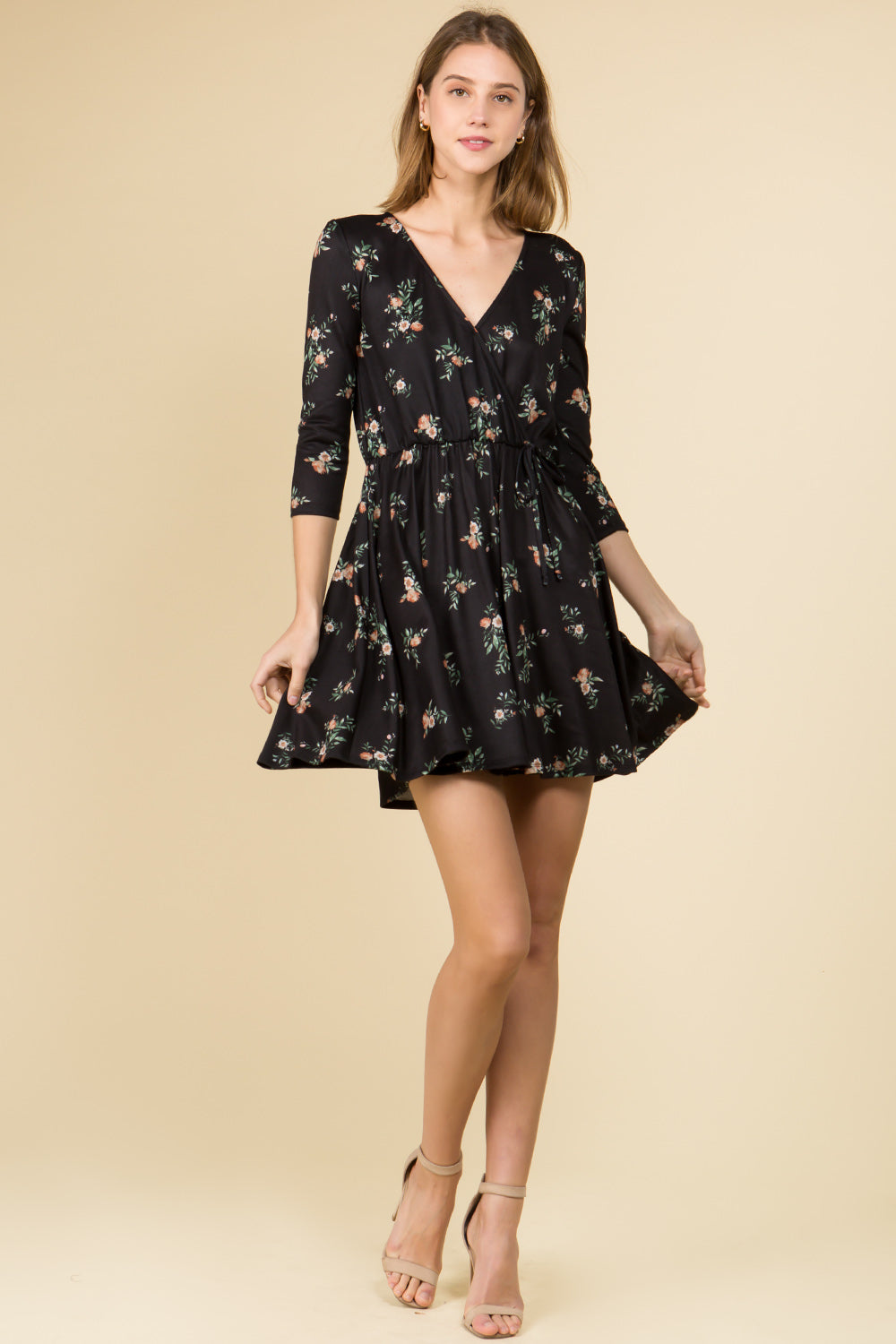 3/4 SLEEVE MINI FLORAL WRAP DRESS