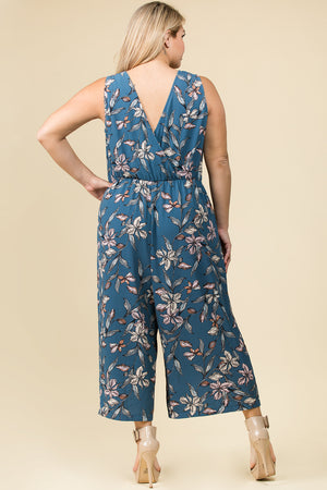 PLUS SIZE V-NECK FLORAL JUMPSUIT WITH FRONT TIE DETAIL