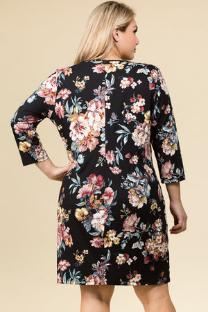 PLUS SIZE CRISS CROSS V NECK FLORAL DRESS