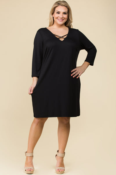 PLUS SIZE CRISS CROSS V NECK BASIC DRESS
