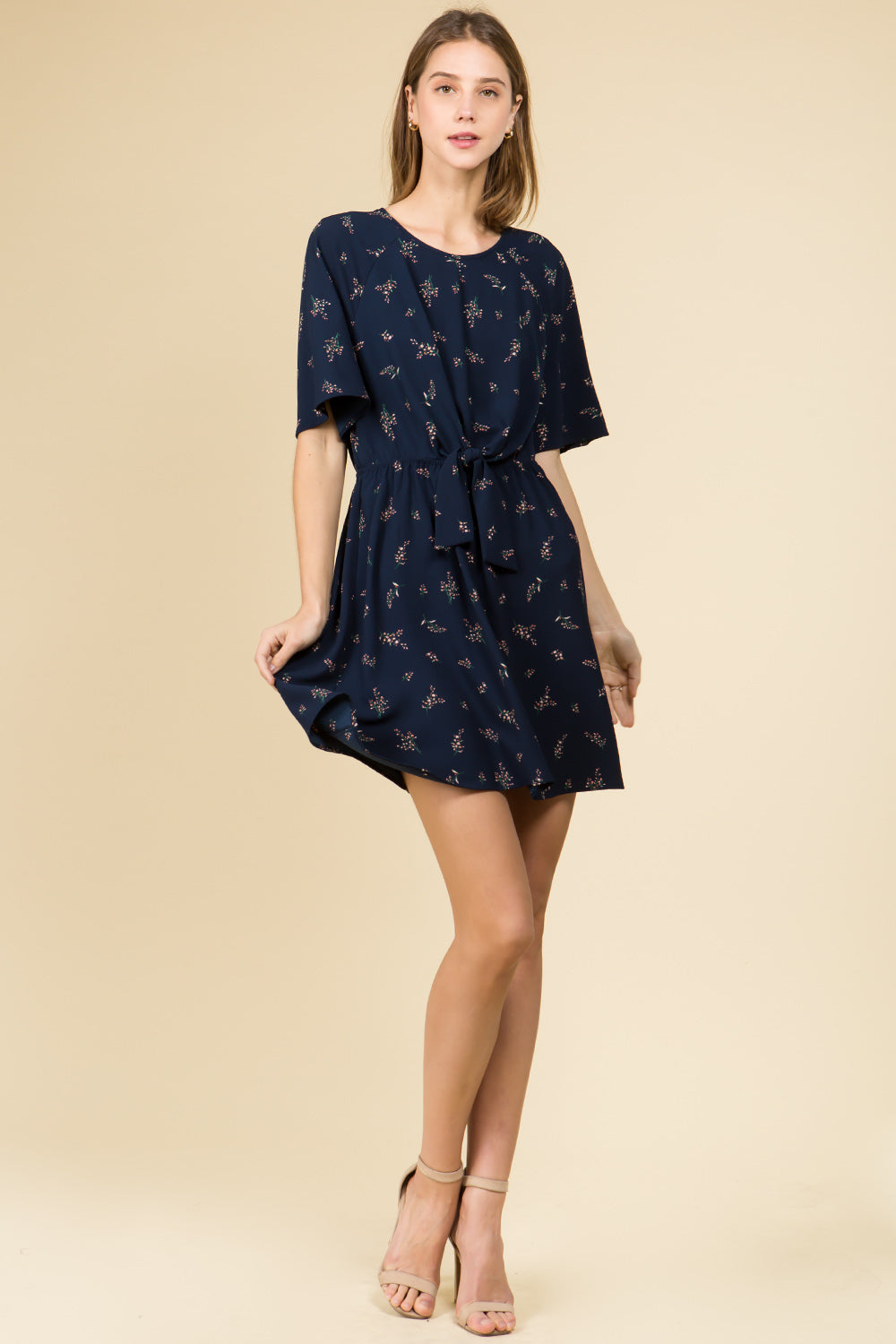 TIE FRONT NAVY FLORAL MINI DRESS