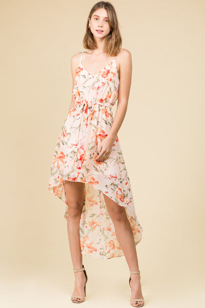HI-LOW RUFFLED WAIST CHIFFON FLORAL DRESS