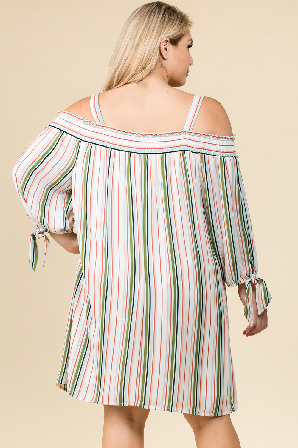 PLUS SIZE OFF SHOULDER STRIPED DRESS WITH TIE SLEEVES