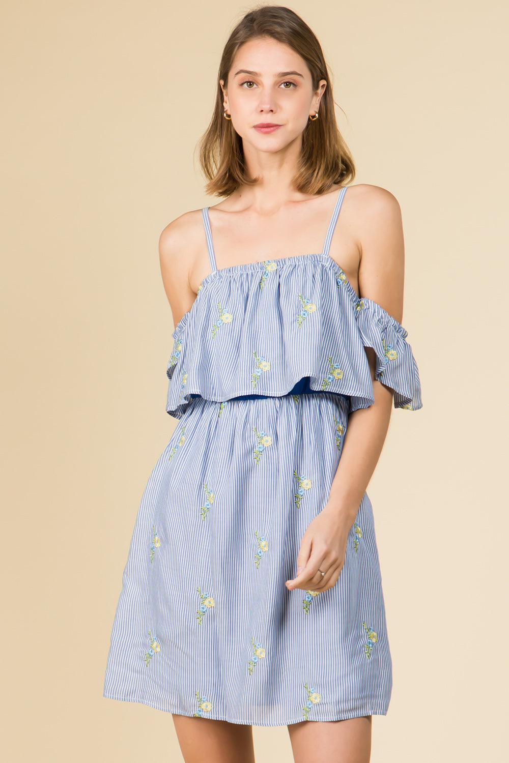 EMBROIDERED STRIPE BLUE FLORAL OFF THE SHOULDER MINI DRESS