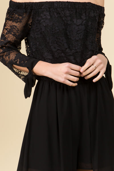 DROP SHOULDER LONG SLEEVE LACE MAXI ROMPER DRESS