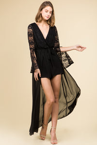 BELL SLEEVE LACE V-NECK ROMPER MAXI DRESS WITH SASH