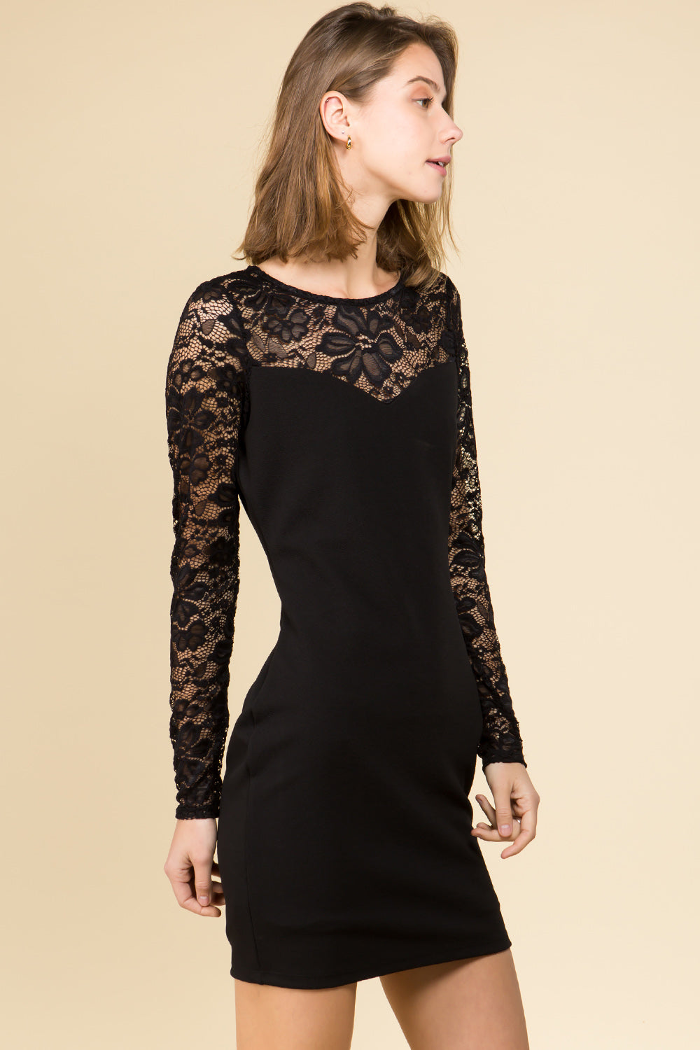BODYCON KNIT DRESS WITH SWEETHEART LACE YOKE AND FITTED SLEEVES