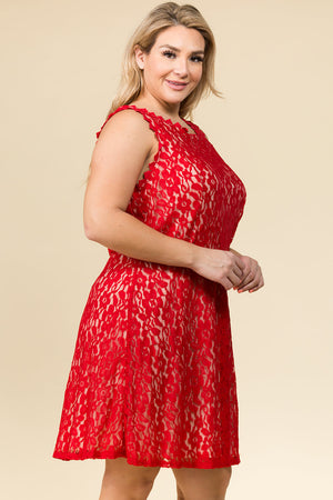 PLUS SIZE RED LACE BABY-DOLL DRESS
