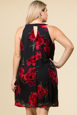PLUS SIZE SLEEVELESS DRESS IN ROSE BURNOUT VELVET