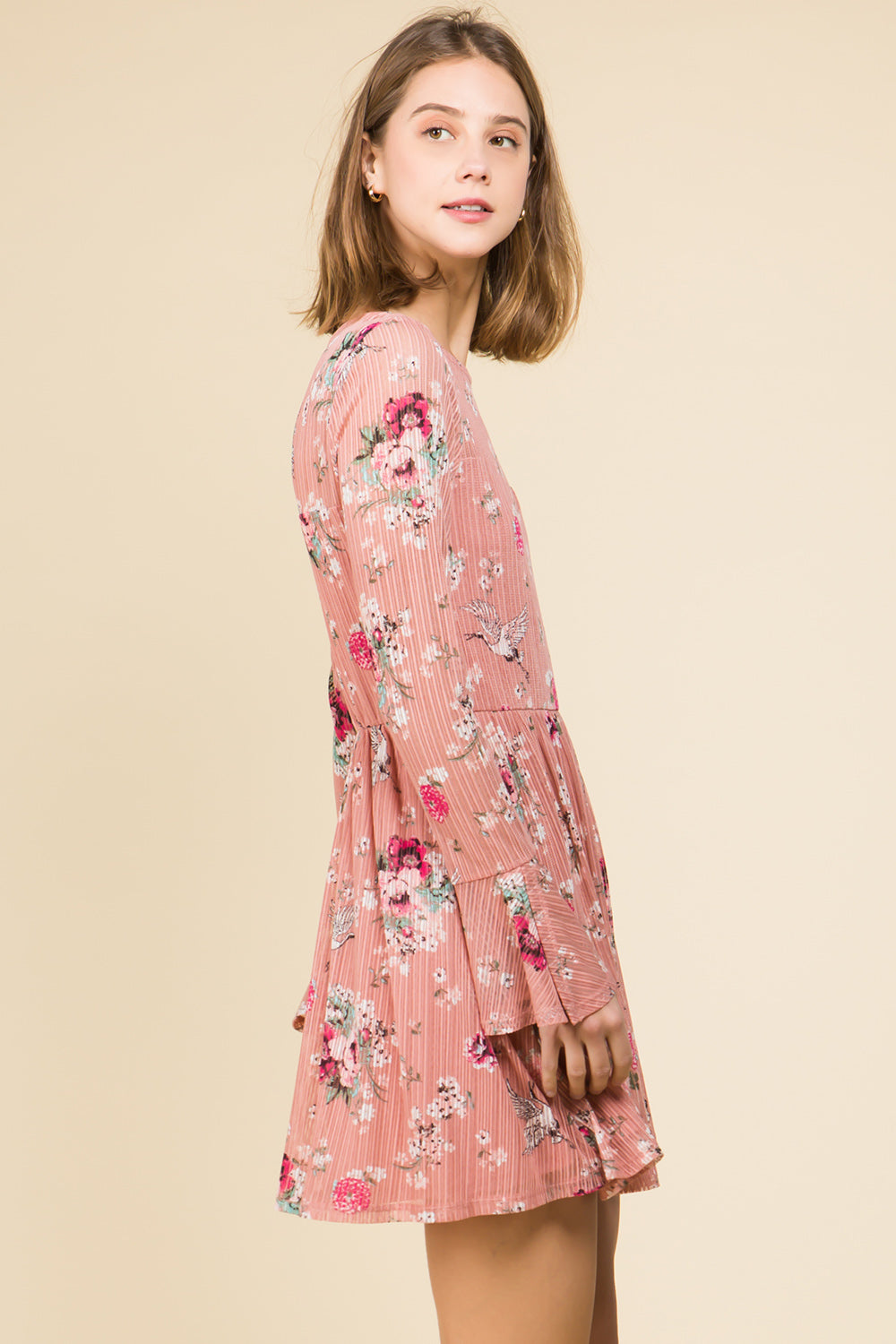 BLUSH FLORAL STRIPE MESH BELL SLEEVE DRESS