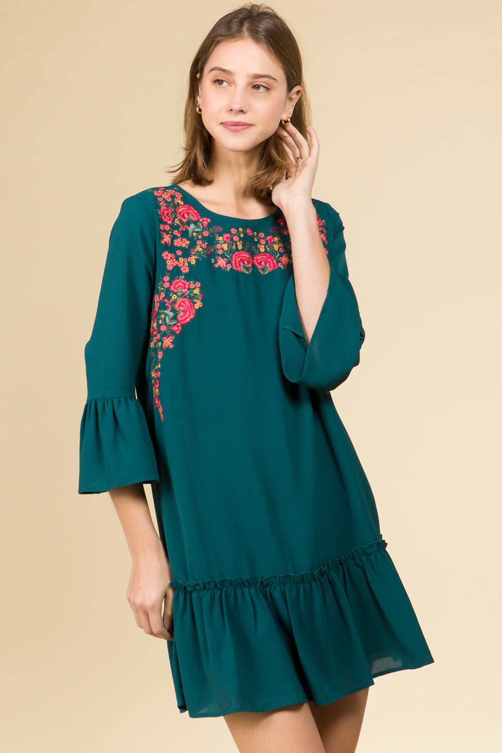 EMBROIDERED FLORAL SEA GREEN RUFFLE DRESS