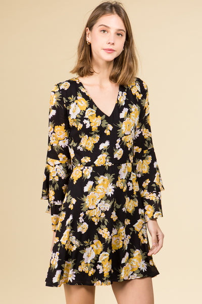 LONG BELL SLEEVE GOLD FLOWER MINI DRESS WITH TIE BACK