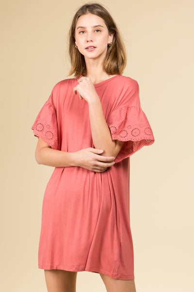 EYELET RUFFLE SLEEVE KNIT DRESS