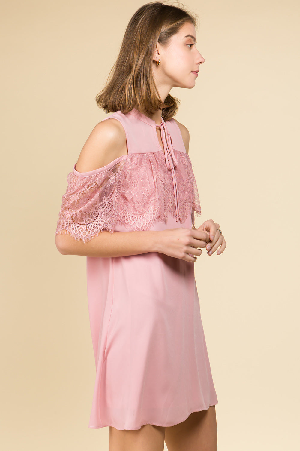 TIE FRONT MOCK NECK LACE RUFFLE COLD SHOULDER DRESS