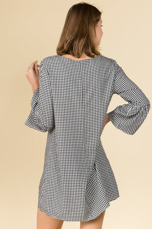 V-NECK GINGHAM DRESS WITH FLORAL EMBROIDERY