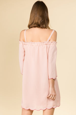 COLD SHOULDER EMBROIDERED SCALLOP EDGE MINI DRESS