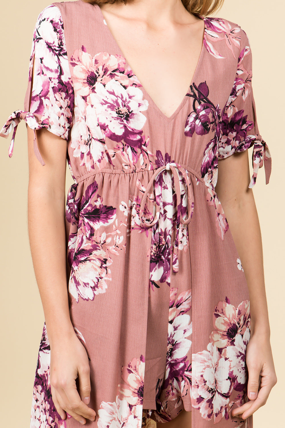 BLUSH FLORAL V-NECK ROMPER MAXI DRESS WITH TIE