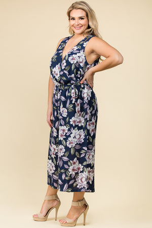 PLUS SIZE SLEEVELESS SURPLUS JUMPSUIT IN NAVY FLORAL