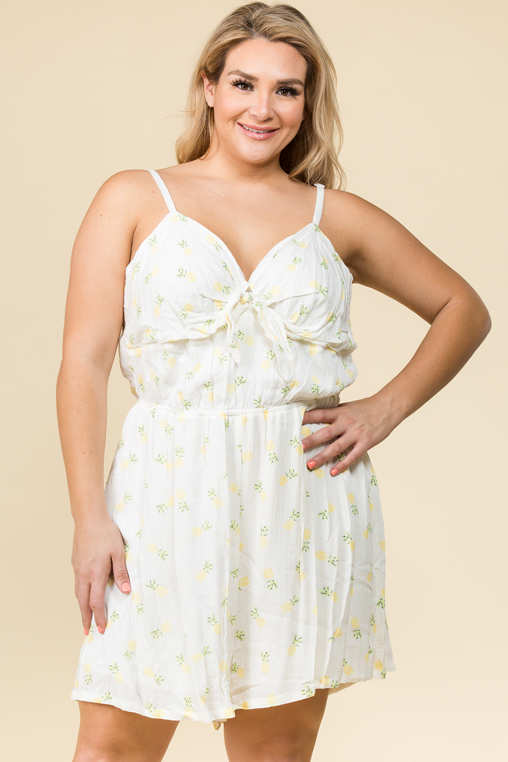 PLUS SIZE TIE FRONT ROMPER IN PINEAPPLE PRINT