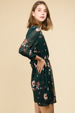 SURPLUS TIE LONG SLEEVE GREEN FLORAL DRESS