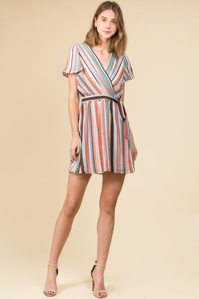 FLUTTER SLEEVE MODERN STRIPE DRESS WITH SELF SASH