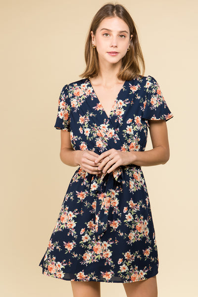 FLUTTER SLEEVE WITH SELF SASH FLORAL DRESS