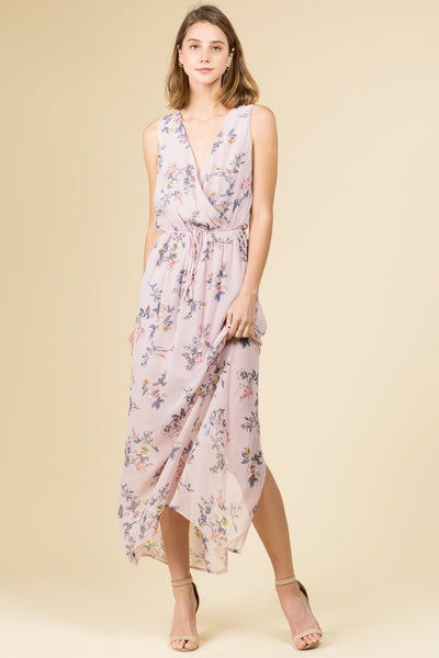 SURPLUS SLEEVELSS CHIFFON FLORAL MAXI DRESS WITH BACK SLIT