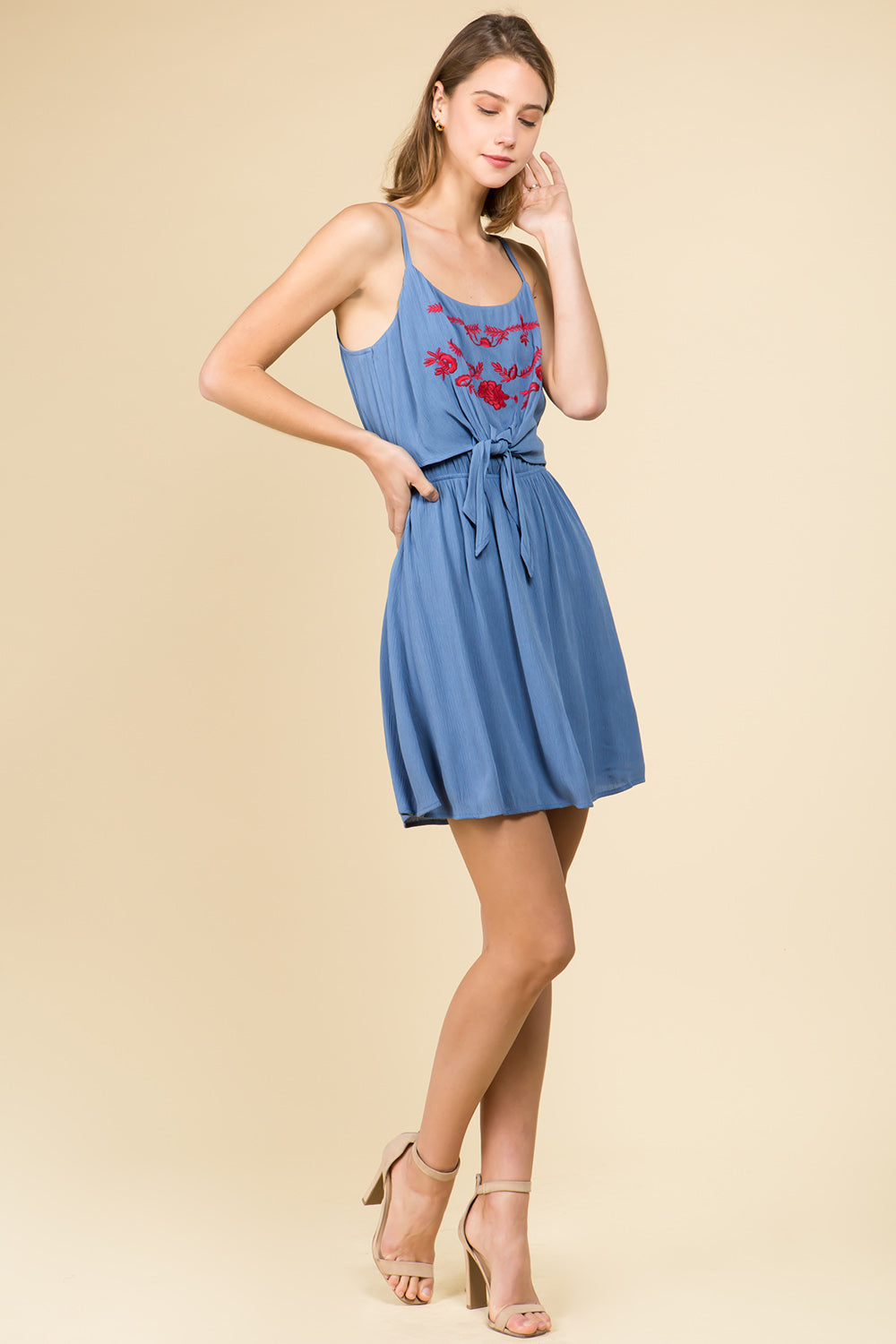 EMBROIDERED TIE FRONT MINI DRESS WITH SPAGHETTI STRAPS