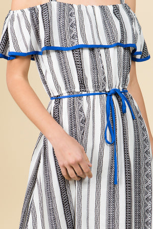 STRIPED HI-LOW OFF THE SHOULDER RUFFLE DRESS