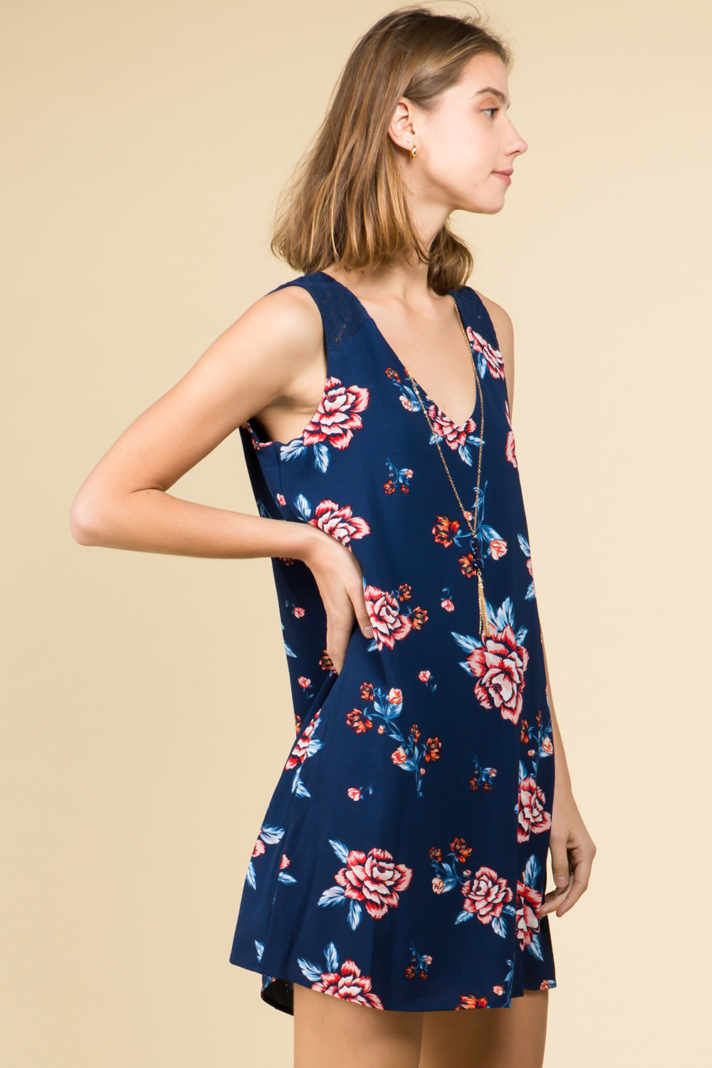 NAVY FLORAL V-NECK DRESS WITH NECKLACE