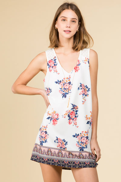 IVORY FLORAL V-NECK BORDER PRINT DRESS WITH NECKLACE