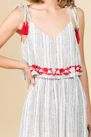 RED EMBROIDERED POP OVER DRESS